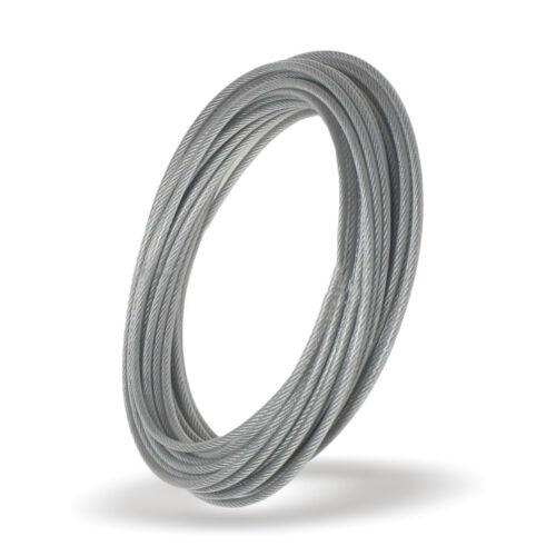 400m DRAHTSEIL in PVC 1mm auf 2mm 1X7 Seil TRANSPARENT