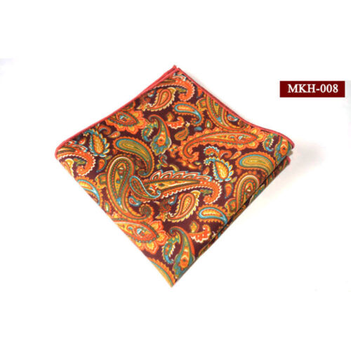 Mens Cotton Paisley Flower Floral Pocket Square Handkerchief Wedding Hanky