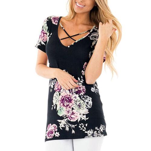 Damen Blumen T-Shirt Bluse Kurzarm Oberteile Sommer Hemd Tunika Tops Übergröße