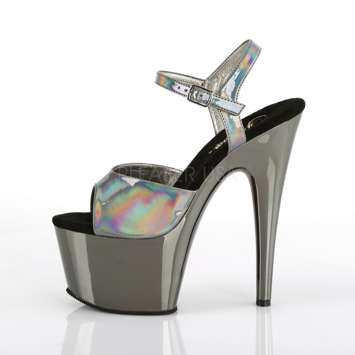 PLEASER Sexy 7 7 7  Heel Stripper Chrome Platform Pewter Hologram Sandal damen schuhe 2797c9