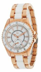 GC GUESS COLLECTION WHITE CERAMIC+ROSE GOLD TONE SWISS MADE WATCH ... aab0abe234
