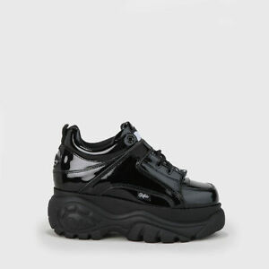 Details zu Buffalo London Classic Boots Shoes Plateau Halb Schuhe 90er Schwarz Lackleder