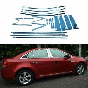 Full-Windows-Molding-Trim-Decoration-Strips-w-Center-Pillar-For-Chevrolet-Cruze