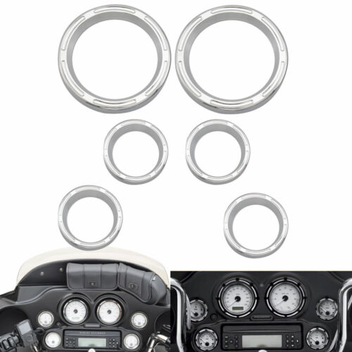 6x Chrome Speedometer Bezels for 96-2013 Harley Electra Street glide and Trike