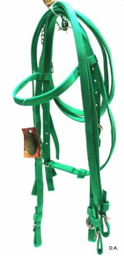 D.A Brand Mini Pony Size Poly Nylon Parrot Green Complete Bridle Set horse tack