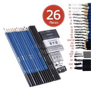 26Pcs-Set-Painting-Charcoal-Sketch-Pencil-Graphite-Eraser-Art-Drawing-Kit-w-Bag