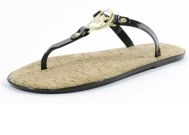 Gold Charm Black Jelly Sandals Size