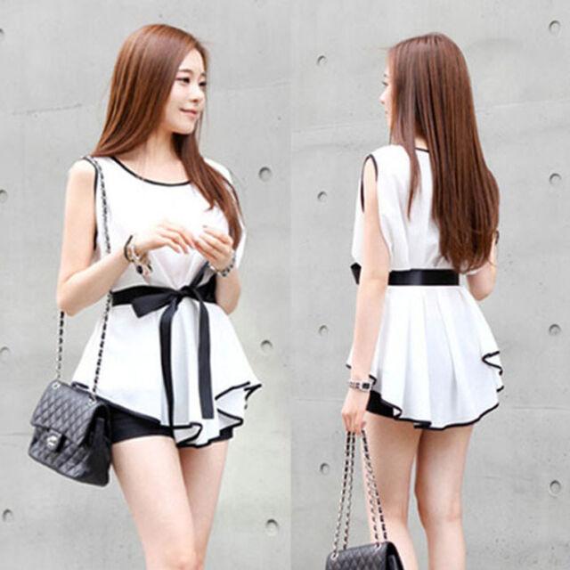 Summer Women Blouse Fashion Lady Chiffon Shirt Slim Sleeveless Casual T-Shirt