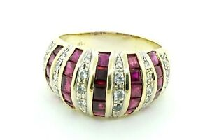 Women-039-s-18k-Yellow-Gold-Diamond-Band-Dome-Cocktail-Ring-W-Ruby-2-75-Ct-21016B