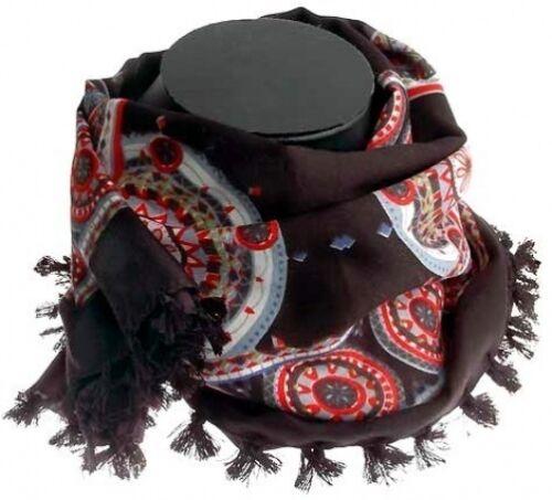 Turkish 100/% Silk Cotton Arab Geo Paisley Black Red Hijab Head Scarf Wrap Chemo