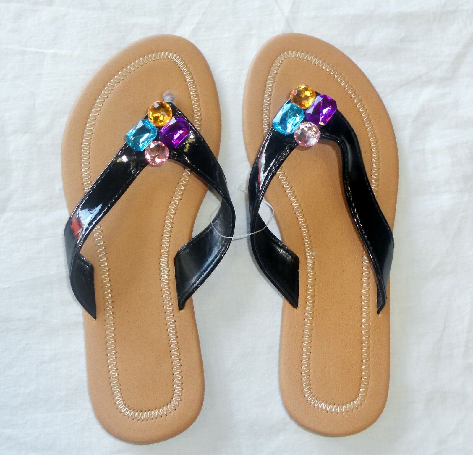 Fun in the Sun Women's Size Jewels 5-6 Flip Flops with Jewels Size 530df1