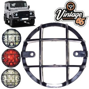 Land-Rover-Defender-Rear-95mm-Light-Grilles-Lamp-Stone-Guards-Pair-Reverse-Fog