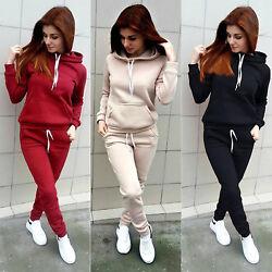 Damen Trainingsanzug Kapuze Pullover Hose Sportanzug Fitness Gym Jogginganzug DE