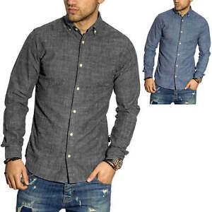 Jack-amp-Jones-Herren-Langarmhemd-Freizeithemd-Herrenhemd-Hemd-Melange