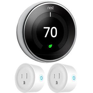 Google-Nest-Learning-Thermostat-3rd-Gen-Polished-Steel-2x-Deco-Gear-Smart-Plug