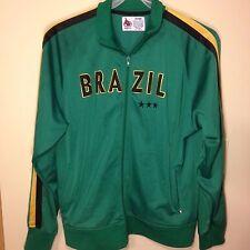 Brazil Track Jacket / Coat - Sz: L - Green w/ Black Yellow Stripe - Small Flag