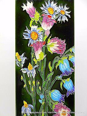 "Bell Flower Ceramic Art Tile Decorative Blue Purple 6x16"" Continental Art KD111"