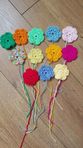12 Handmade Crochet Flowers Granny squares cushions bunting blankets 2.5 inches