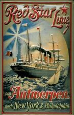 Red Star Line Antwerpen - New York Blechschild Schild Blech Tin Sign 20 x 30 cm