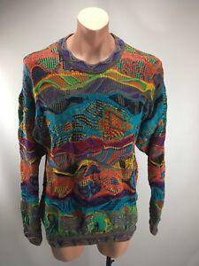 Seltene 90s VTG COOGI Australia Neon-BIGGIE-Tropische Fische Pullover Brand M vaporwave