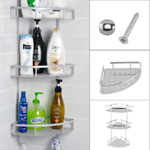 Details About Metal Shower Bathroom Shelf Corner Caddy Basket Shampoo Storage Shelves 3 Tiers