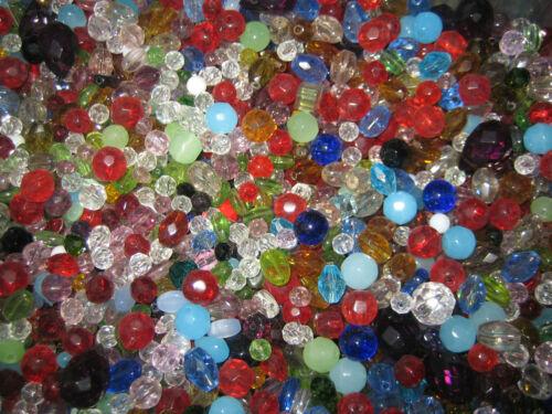 PERLES DE VERRE MIX Crystal Perles//Taille Perles//Cristal Perles 50 g environ 75-80 Pièces