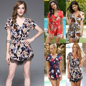 Women-Floral-Romper-Flower-Tunic-V-neck-Playsuit-Summer-Beach-Cotton-Pants-Slim