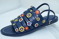 Tory Burch Shoes Marguerite Flat Sandals Size 8 Blue Navy Sea Leather