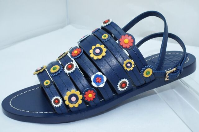 7f74c5deef444 New Tory Burch Marguerite Flat Sandals Shoes Size 7.5 Blue Navy Sea Sale  Gift