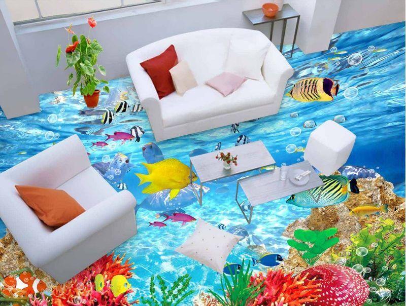 Peces de agua de mar 469 3D Piso Impresión De Parojo De Papel Pintado Mural Calcomanía 5D AJ Wallpaper