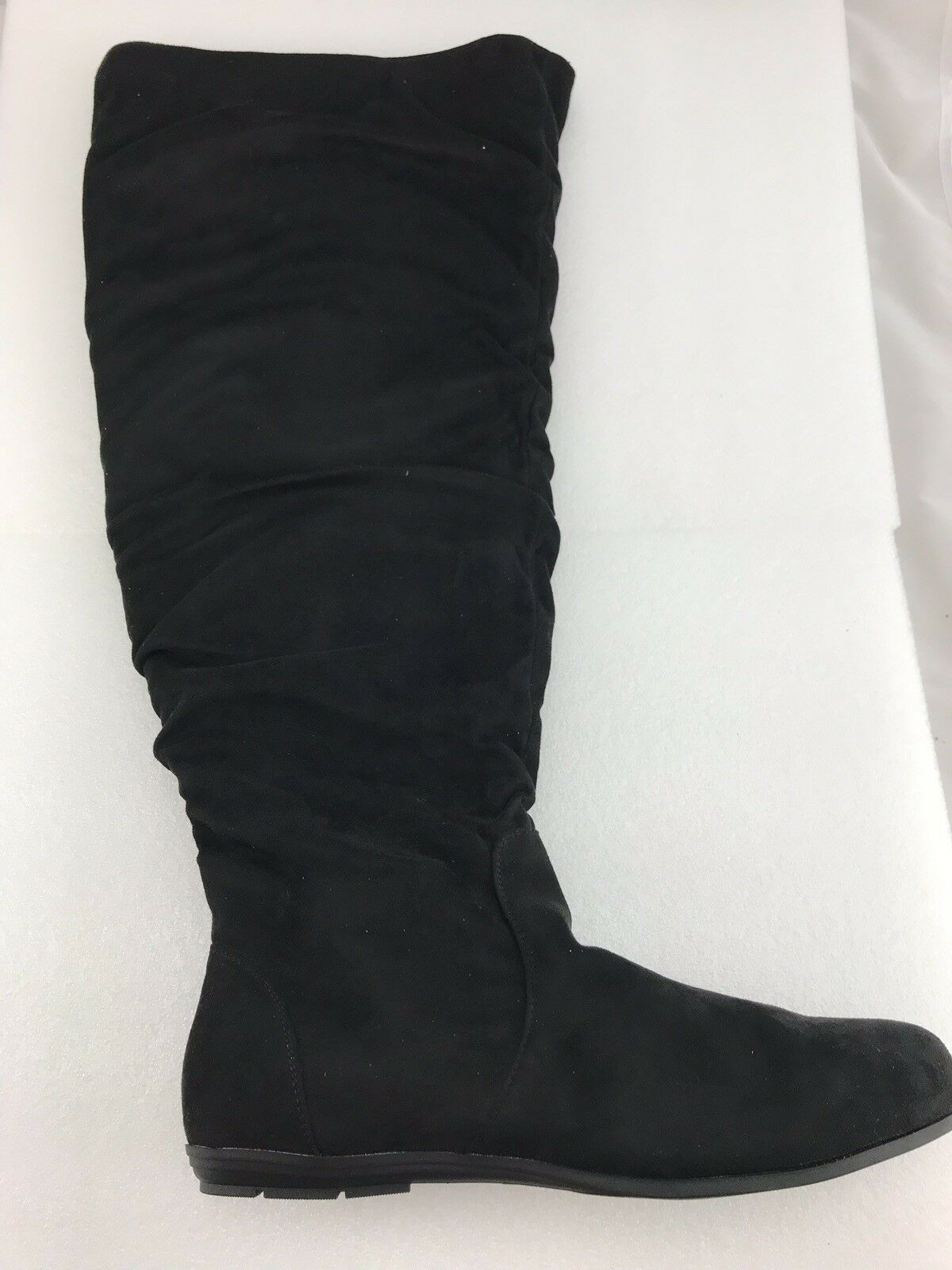 Torrid Black Faux Suede Shearling Flat Knee High Boots 11.5 Wide Width Wide Calf