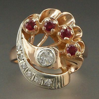 Rare Vintage Retro 1940s 2 Tone Solid 14K Rose & White Gold, Diamond & Ruby Ring