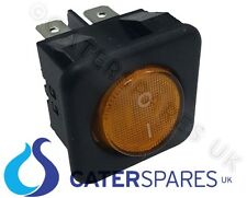 16A AMBER NEON ROCKER SWITCH POWER ON OFF DOUBLE POLE 4 PIN 25X25 SQUARE IP40