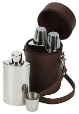 Hip Flask & Shot Cup Caddy Set Brown Leather Carry Case Hunting Shooting Gift