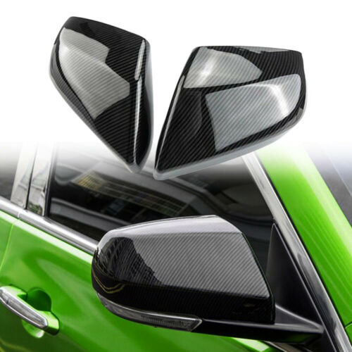 2 Cadillac ATS-L Carbon Fiber ABS Side Rearview Mirror Cover Trim for 2014-2018