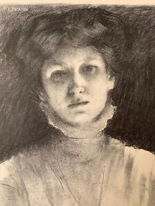Ernest jackson engraving lithograph woman face study of light effect