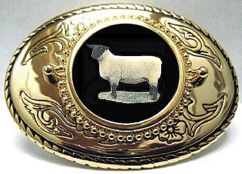 SUFFOLK SHEEP RAM EWE LAMB BELT BUCKLE USA MADE WOOL SHEAR FAIR FLEECE WETHER