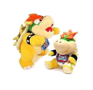 "Set of 2 10"" Super Mario Bros King Koopa Bowser & 7"" Bowser Jr Plush Stuffed 765973953004"