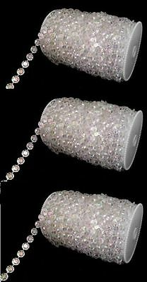 Lot of 4- 99ft Roll Iridescent Diamond Crystal Beads Strand Garland DIY Wedding
