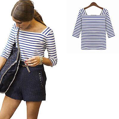 Womens Blue & White Stripe T-Shirt Summer Blouse Cotton Tee Tops