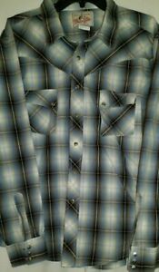 Vintage-Wrangler-Western-Mens-Pearl-Snap-Large-Shirt-2xl-long-Sleeve-brown-plaid