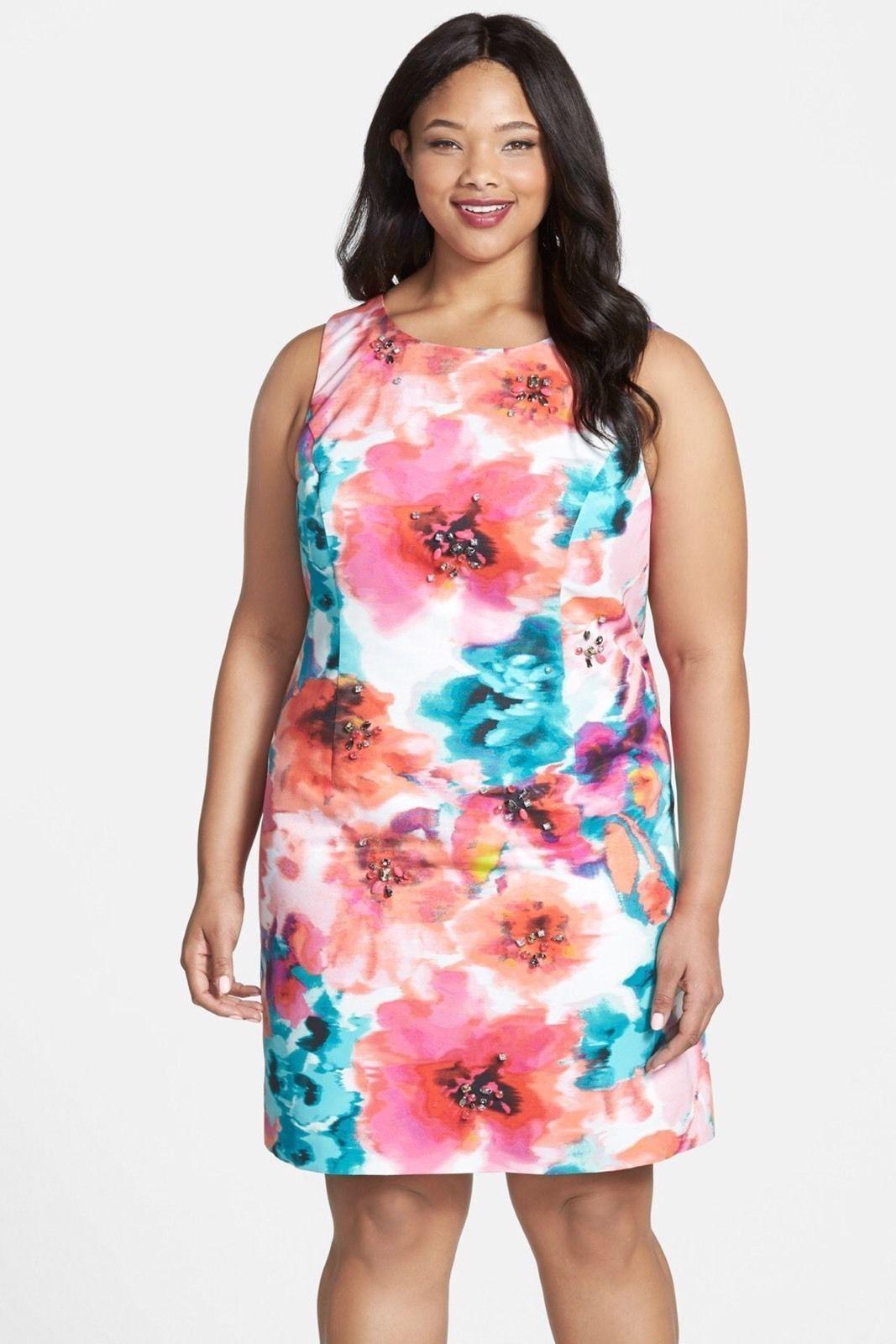 NWT Eliza J Floral Print Sheath Dress--SZ 14W,16W,18W,20W,22W,24W