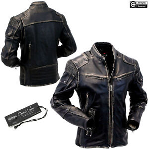 Uomini Moto Giacca di Pelle Vintage Giacca di pelle giacca moto Giacca Biker
