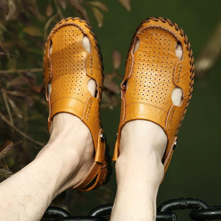 7119fbe2b70c8 Mens Hollow Faux Leather Round Toe Toe Toe Sandals Flat Heels Beach Summer Shoes  Sandals 83b75d
