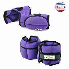 5 lbs Adjustable Neoprene Ankle Weights Pair + 1.5 lbs Weighted Gloves (Purple)