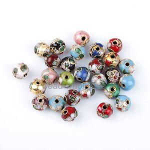 100pcs Delicate Mixed Round Cloisonne Bead Fit Charms Bracelet 8mm