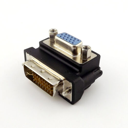 1x DVI 24+5 Pin Male to VGA Female 90 Degree Right Angle Video Convertor Adapter