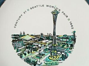 Seattle-World-039-s-Fair-1962-Century-21-Collector-Plate-Space-Needle-12-034-teal-blue