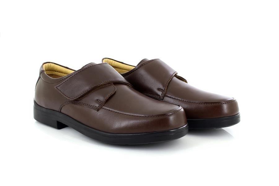Mens Roamers Leather Super Light Touch Fastening Leather XXX Wide Shoes
