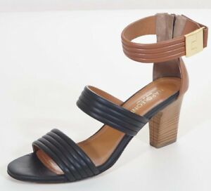d80d694e8fd Image is loading Napoleoni-Womens-Black-Brown-Leather-Ankle-Strap-Sandals-